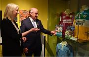 5 June 2018; Celebrating the launch of the new '20 Years' annual exhibition at the GAA Museum are, Uachtarán Chumann Lúthchleas Gael John Horan, right, and GAA Museum Curator Joanne Clarke, at Croke Park in Dublin. The exhibition traces the key moments in GAA and Croke Park history over the past 20 years since the GAA Museum first opened its doors in 1998. Topics covered include the Croke Park redevelopment, the deletion of Rule 21, the suspension of Rule 42 that paved the way for international rugby and soccer to be played in Croke Park, the Special Olympics World Summer Games in 2003 and the GAA 125 festivities in 2009. The exhibition also serves as the throw-in for the GAA Museum's anniversary programme of events. Details of all the museum's celebratory activities can be found at www.crokepark.ie/gaamuseum.  Photo by Sam Barnes/Sportsfile
