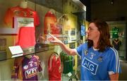 5 June 2018; Celebrating the launch of the new '20 Years' annual exhibition at the GAA Museum is, Dubin Camogie player and GAA Museum Tour Guide, Eve O'Brien at Croke Park in Dublin. The exhibition traces the key moments in GAA and Croke Park history over the past 20 years since the GAA Museum first opened its doors in 1998. Topics covered include the Croke Park redevelopment, the deletion of Rule 21, the suspension of Rule 42 that paved the way for international rugby and soccer to be played in Croke Park, the Special Olympics World Summer Games in 2003 and the GAA 125 festivities in 2009. The exhibition also serves as the throw-in for the GAA Museum's anniversary programme of events. Details of all the museum's celebratory activities can be found at www.crokepark.ie/gaamuseum.  Photo by Sam Barnes/Sportsfile