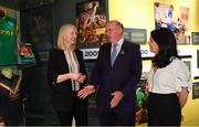 5 June 2018;  Celebrating the launch of the new '20 Years' annual exhibition at the GAA Museum are, Uachtarán Chumann Lúthchleas Gael John Horan, centre, with GAA Museum Curator Joanne Clarke, left, and GAA Museum Director Niamh McCoy, at Croke Park in Dublin. The exhibition traces the key moments in GAA and Croke Park history over the past 20 years since the GAA Museum first opened its doors in 1998. Topics covered include the Croke Park redevelopment, the deletion of Rule 21, the suspension of Rule 42 that paved the way for international rugby and soccer to be played in Croke Park, the Special Olympics World Summer Games in 2003 and the GAA 125 festivities in 2009. The exhibition also serves as the throw-in for the GAA Museum's anniversary programme of events. Details of all the museum's celebratory activities can be found at www.crokepark.ie/gaamuseum.  Photo by Sam Barnes/Sportsfile