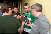 3 June 2018; Fermanagh manager Rory Gallagher is interviewed by memebers of the media after the Ulster GAA Football Senior Championship Semi-Final match between Fermanagh and Monaghan at Healy Park in Omagh, Co Tyrone. Photo by Oliver McVeigh/Sportsfile