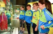 5 June 2018; Celebrating the launch of the new '20 Years' annual exhibition at the GAA Museum are Tara Fogarty, 11, Martin Cleere, 12, Cathal Guilfoyle, 12, and Reah Sweeny, 11, all from Tipperary, at Croke Park in Dublin. The exhibition traces the key moments in GAA and Croke Park history over the past 20 years since the GAA Museum first opened its doors in 1998. Topics covered include the Croke Park redevelopment, the deletion of Rule 21, the suspension of Rule 42 that paved the way for international rugby and soccer to be played in Croke Park, the Special Olympics World Summer Games in 2003 and the GAA 125 festivities in 2009. The exhibition also serves as the throw-in for the GAA Museum's anniversary programme of events. Details of all the museum's celebratory activities can be found at www.crokepark.ie/gaamuseum.  Photo by Sam Barnes/Sportsfile
