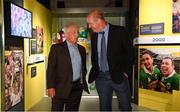 5 June 2018; Celebrating the launch of the new '20 Years' annual exhibition at the GAA Museum are former Meath manager Sean Boylan, left, and former Kerry player and GAA Museum Hall of Fame Inductee, Jack O'Shea, at Croke Park in Dublin. The exhibition traces the key moments in GAA and Croke Park history over the past 20 years since the GAA Museum first opened its doors in 1998. Topics covered include the Croke Park redevelopment, the deletion of Rule 21, the suspension of Rule 42 that paved the way for international rugby and soccer to be played in Croke Park, the Special Olympics World Summer Games in 2003 and the GAA 125 festivities in 2009. The exhibition also serves as the throw-in for the GAA Museum's anniversary programme of events. Details of all the museum's celebratory activities can be found at www.crokepark.ie/gaamuseum.  Photo by Sam Barnes/Sportsfile