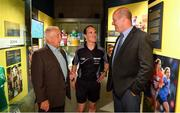 5 June 2018; Celebrating the launch of the new '20 Years' annual exhibition at the GAA Museum are from left, former Meath manager Sean Boylan, referee David Coldrick and former Kerry player and GAA Museum Hall of Fame Inductee, Jack O'Shea, at Croke Park in Dublin. The exhibition traces the key moments in GAA and Croke Park history over the past 20 years since the GAA Museum first opened its doors in 1998. Topics covered include the Croke Park redevelopment, the deletion of Rule 21, the suspension of Rule 42 that paved the way for international rugby and soccer to be played in Croke Park, the Special Olympics World Summer Games in 2003 and the GAA 125 festivities in 2009. The exhibition also serves as the throw-in for the GAA Museum's anniversary programme of events. Details of all the museum's celebratory activities can be found at www.crokepark.ie/gaamuseum.  Photo by Sam Barnes/Sportsfile