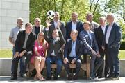 6 June 2018; RTÉ Sport today announced details of it's 2018 FIFA World Cup coverage across television, radio, online and mobile. RTÉ will provide live coverage of all 64 games across RTÉ2, RTÉ News Now and RTÉ Player. Pictured at the launch are World Cup anchors Darragh Maloney, centre, Jacqui Hurley, left, and Peter Collins, with, back row, from left to right, Stephen Alkin, Ronnie Whelan, Eamon Dunphy, Richie Sadlier, Didi Hamann, Ger Canning, Damien Duff, John Kenny and Adrian Eames at RTÉ in Donnybrook, Dublin. Photo by Matt Browne/Sportsfile