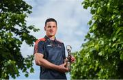 7 June 2018; Carlow's Paul Broderick and Clare's John Conlon confirmed as the PwC GAA/GPA Players of the Month for May in football and hurling. Pictured is John Conlon after being presented with his PwC GAA/GPA Player of the Month Award at the PwC Offices in Dublin. Photo by David Fitzgerald/Sportsfile