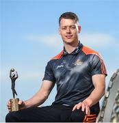 7 June 2018; Carlow's Paul Broderick and Clare's John Conlon confirmed as the PwC GAA/GPA Players of the Month for May in football and hurling. Pictured is Paul Broderick after being presented with his PwC GAA/GPA Player of the Month Award at the PwC Offices in Dublin. Photo by David Fitzgerald/Sportsfile