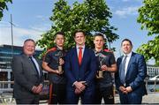 7 June 2018; Carlow's Paul Broderick and Clare's John Conlon confirmed as the PwC GAA/GPA Players of the Month for May in football and hurling. In attendance, from left, Leinster GAA Chairman Jim Bolger, Paul Broderick, GPA representative Philip Greene, John Conlon and PwC partner Enda McDonagh following the PwC GAA/GPA Player of the Month Award presentations at the PwC Offices in Dublin. Photo by David Fitzgerald/Sportsfile