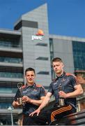 7 June 2018; Carlow's Paul Broderick and Clare's John Conlon confirmed as the PwC GAA/GPA Players of the Month for May in football and hurling. Pictured is John Conlon, left, and Paul Broderick after being presented with their PwC GAA/GPA Player of the Month Award at the PwC Offices in Dublin. Photo by David Fitzgerald/Sportsfile