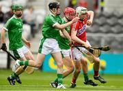 2 June 2018; Shane Barrett of Cork in action against Limerick players, from left, Emmet McEvoy, Jack Nicholas, and Michael Keane during the Munster GAA Minor Hurling Championship Round 3 match between Cork and Limerick at Páirc Uí Chaoimh in Cork. Photo by Piaras Ó Mídheach/Sportsfile