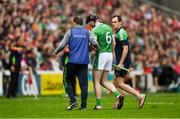 2 June 2018; Declan Hannon of Limerick leaves the field with an injury during the Munster GAA Hurling Senior Championship Round 3 match between Cork and Limerick at Páirc Uí Chaoimh in Cork. Photo by Piaras Ó Mídheach/Sportsfile