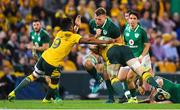 9 June 2018; Jordi Murphy of Ireland is tackled by Will Genia and David Pocock of Australia during the 2018 Mitsubishi Estate Ireland Series 1st Test match between Australia and Ireland at Suncorp Stadium, in Brisbane, Australia. Photo by Brendan Moran/Sportsfile