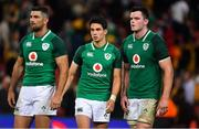 9 June 2018; Ireland players, from left, Rob Kearney, Joey Carbery and James Ryan after the 2018 Mitsubishi Estate Ireland Series 1st Test match between Australia and Ireland at Suncorp Stadium, in Brisbane, Australia. Photo by Brendan Moran/Sportsfile
