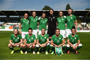 8 June 2018; The Republic of Ireland team, back row, from left, Aine O'Gorman, Diane Caldwell, Niamh Fahey, Marie Hourihan, Karen Duggan and Louise Quinn, with, front row, Tyler Toland, Leanne Kiernan, Denise O'Sullivan, Katie McCabe and Sophie Perry-Campbell prior to the 2019 FIFA Women's World Cup Qualifier match between Republic of Ireland and Norway at Tallaght Stadium in Tallaght, Dublin. Photo by Stephen McCarthy/Sportsfile