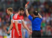 9 June 2018; Mark Lynch of Derry is shown the red card by referee David Coldrick during the GAA Football All-Ireland Senior Championship Round 1 match between Derry and Kildare at Derry GAA Centre of Excellence, Owenbeg, Derry. Photo by Piaras Ó Mídheach/Sportsfile