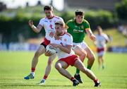 9 June 2018; Niall Sludden with the support of his Tyrone team-mate Matthew Donnelly in action against Conor McGill of Meath during the GAA Football All-Ireland Senior Championship Round 1 match between Meath and Tyrone at Páirc Táilteann in Navan, Co Meath. Photo by Stephen McCarthy/Sportsfile