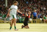 9 June 2018; Aidan O'Shea of Mayo reacts after winning a free during the GAA Football All-Ireland Senior Championship Round 1 match between Limerick and Mayo at the Gaelic Grounds in Limerick. Photo by Diarmuid Greene/Sportsfile