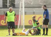 9 June 2018; Conor Murray of Antrim receives treatment before being stretchered off the field during the GAA Football All-Ireland Senior Championship Round 1 match between Offaly and Antrim at Bord Na Mona O'Connor Park in Tullamore, Offaly. Photo by Sam Barnes/Sportsfile