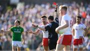 9 June 2018; Tiernan McCann of Tyrone receives a red card from referee Paddy Neilan during the GAA Football All-Ireland Senior Championship Round 1 match between Meath and Tyrone at Páirc Táilteann in Navan, Co Meath. Photo by Stephen McCarthy/Sportsfile
