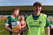 9 June 2018; Offaly manager Paul Rouse, right, is congratulated by Niall Darby of Offaly following the GAA Football All-Ireland Senior Championship Round 1 match between Offaly and Antrim at Bord Na Mona O'Connor Park in Tullamore, Offaly. Photo by Sam Barnes/Sportsfile