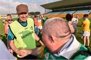 9 June 2018; Offaly manager Paul Rouse, left, is congratulated by Michael McDonagh, from Tullamore, Co. Offaly, following the GAA Football All-Ireland Senior Championship Round 1 match between Offaly and Antrim at Bord Na Mona O'Connor Park in Tullamore, Offaly. Photo by Sam Barnes/Sportsfile