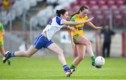 9 June 2018; Sarah Jane McDonald of Donegal in action against Fiona Courtney of Monaghan during the TG4 Ulster Ladies SFC semi-final match between Donegal and Monaghan at Healy Park in Omagh, County Tyrone.  Photo by Oliver McVeigh/Sportsfile