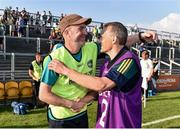 9 June 2018; Offaly manager Paul Rouse, left, celebrates with Ken Furlong following the GAA Football All-Ireland Senior Championship Round 1 match between Offaly and Antrim at Bord Na Mona O'Connor Park in Tullamore, Offaly. Photo by Sam Barnes/Sportsfile