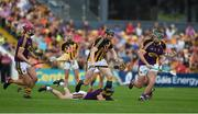 9 June 2018; Walter Walsh of Kilkenny in action against Wexford players, from left, Paudie Foley, Kevin Foley, and Diarmuid O'Keeffe during the Leinster GAA Hurling Senior Championship Round 5 match between Kilkenny and Wexford at Nowlan Park in Kilkenny. Photo by Daire Brennan/Sportsfile