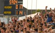 9 June 2018; Kilkenny supporters, in the Ted Carroll stand, celebrate the lead score, yet to be reflected on the score board, in the 60th minute, during the Leinster GAA Hurling Senior Championship Round 5 match between Kilkenny and Wexford at Nowlan Park in Kilkenny. Photo by Ray McManus/Sportsfile