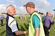 9 June 2018; Antrim manager Lenny Harbinson, left, and Offaly manager Paul Rouse shake hands following the GAA Football All-Ireland Senior Championship Round 1 match between Offaly and Antrim at Bord Na Mona O'Connor Park in Tullamore, Offaly. Photo by Sam Barnes/Sportsfile