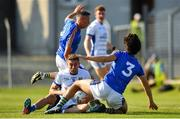 9 June 2018; Killian Clarke of Cavan is fouled by Ross O'Brien of Wicklow, leading to a penalty scored by Martin Reilly during the GAA Football All-Ireland Senior Championship Round 1 match between Wicklow and Cavan at Joule Park in Aughrim, Wicklow. Photo by Harry Murphy/Sportsfile