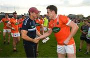 9 June 2018; Armagh manager Kieran McGeeney and Charlie Vernon following their victory in the GAA Football All-Ireland Senior Championship Round 1 match between Westmeath and Armagh at TEG Cusack Park in Mullingar, Co. Westmeath. Photo by Ramsey Cardy/Sportsfile