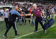 9 June 2018; Anthony Cunningham, Dublin selector and former Galway Hurling manager shakes the hand of Galway kitman James 'Tex' Callahan after the match in the Leinster GAA Hurling Senior Championship Round 5 match between Galway and Dublin at Pearse Stadium in Galway. Photo by Ray Ryan/Sportsfile