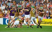 9 June 2018; Paul Morris of Wexford in action against Martin Keoghan, left, and Joey Holden of Kilkenny during the Leinster GAA Hurling Senior Championship Round 5 match between Kilkenny and Wexford at Nowlan Park in Kilkenny. Photo by Daire Brennan/Sportsfile