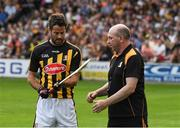 9 June 2018; Jamie Redknapp and DJ Carey during the A League of Their Own Half-Time Challenge at Kilkenny v Wexford - Leinster GAA Hurling Senior Championship Round 5 at Nowlan Park, Kilkenny. Photo by Ray McManus/Sportsfile