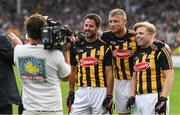 9 June 2018; A League of Their Own stars Jamie Redknapp, Freddie Flintoff and Rob Beckett were at Nowlan Park on Saturday for the ultimate penalty challenge. All three competed against each other in a half-time hurling challenge as Kilkenny faced Wexford. In preparation for the challenge, the trio were coached by Kilkenny hurling legend and fine-time All- Ireland champion, DJ Carey. This is the first time the BAFTA-winning show has come to Ireland. Viewers will be able to see the outcome of the challenge on Sky One's A League of Their Own later this year. Pictured are from left Jamie Redknapp along with Andrew Flintoff and Rob Beckett. Photo by Ray McManus/Sportsfile
