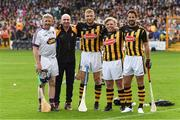9 June 2018; A League of Their Own stars Jamie Redknapp, Freddie Flintoff and Rob Beckett were at Nowlan Park on Saturday for the ultimate penalty challenge. All three competed against each other in a half-time hurling challenge as Kilkenny faced Wexford. In preparation for the challenge, the trio were coached by Kilkenny hurling legend and fine-time All- Ireland champion, DJ Carey. This is the first time the BAFTA-winning show has come to Ireland. Viewers will be able to see the outcome of the challenge on Sky One's A League of Their Own later this year. Pictured are from left, Damien Fitzhenry, DJ Carey, Andrew Flintoff, Rob Beckett and Jamie Redknapp. Photo by Ray McManus/Sportsfile