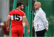 9 June 2018; Mark Lynch of Derry has words with an umpire after being sent off by referee David Coldrick during the GAA Football All-Ireland Senior Championship Round 1 match between Derry and Kildare at Derry GAA Centre of Excellence, Owenbeg, Derry. Photo by Piaras Ó Mídheach/Sportsfile