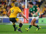 9 June 2018; Joey Carbery of Ireland in action against David Pocock of Australia during the 2018 Mitsubishi Estate Ireland Series 1st Test match between Australia and Ireland at Suncorp Stadium, in Brisbane, Australia. Photo by Brendan Moran/Sportsfile