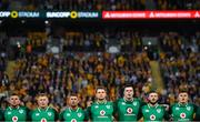 9 June 2018; Ireland players, from left, Jordi Murphy, John Ryan, Rob Kearney, Iain Henderson, James Ryan, Robbie Henshaw and Jacob Stockdale stand for the national anthem prior to the 2018 Mitsubishi Estate Ireland Series 1st Test match between Australia and Ireland at Suncorp Stadium, in Brisbane, Australia. Photo by Brendan Moran/Sportsfile