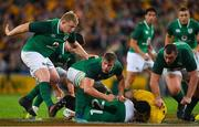 9 June 2018; Ireland players, from left, John Ryan, Jordi Murphy and Jack McGrath seal off a ruck during the 2018 Mitsubishi Estate Ireland Series 1st Test match between Australia and Ireland at Suncorp Stadium, in Brisbane, Australia. Photo by Brendan Moran/Sportsfile