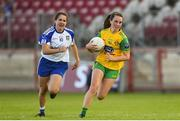 9 June 2018; Sara Jane McDonald of Donegal in action against Shauna Coyle of Monaghan during the TG4 Ulster Ladies SFC semi-final match between Donegal and Monaghan at Healy Park in Omagh, County Tyrone. Photo by Oliver McVeigh/Sportsfile