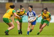 9 June 2018; Therese Scott of Monaghan in action against Nicole McLaughlin, Geraldine McLaughlin and Anne Marie McGlynn of Donegal  during the TG4 Ulster Ladies SFC semi-final match between Donegal and Monaghan at Healy Park in Omagh, County Tyrone. Photo by Oliver McVeigh/Sportsfile