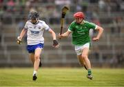10 June 2018; Oisin Ó'Ceallaigh of Waterford in action against Michael Keane of Limerick during the Electric Ireland Munster GAA Hurling Minor Championship match between Limerick and Waterford at the Gaelic Grounds in Limerick. Photo by Eóin Noonan/Sportsfile
