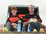 10 June 2018; Father and son Paul Martin and Paul Martin from Mayobridge enjoying a cup of tea prior to the Ulster GAA Football Senior Championship Semi-Final match between Donegal and Down at St Tiernach's Park in Clones, Monaghan. Photo by Philip Fitzpatrick/Sportsfile