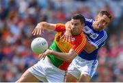 10 June 2018; John Murphy of Carlow in action against Niall Donoher of Laois during the Leinster GAA Football Senior Championship Semi-Final match between Carlow and Laois at Croke Park in Dublin. Photo by Stephen McCarthy/Sportsfile