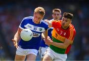 10 June 2018; Alan Farrell of Laois in action against Ciarán Moran of Carlow during the Leinster GAA Football Senior Championship Semi-Final match between Carlow and Laois at Croke Park in Dublin. Photo by Stephen McCarthy/Sportsfile
