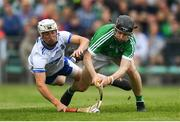 10 June 2018; Graeme Mulcahy of Limerick shoots to score his side's second goal of the game despite the attention of Conor Gleeson of Waterford during the Munster GAA Hurling Senior Championship Round 4 match between Limerick and Waterford at the Gaelic Grounds in Limerick. Photo by Ramsey Cardy/Sportsfile