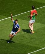10 June 2018; Colm Begley of Laois celebrates scoring a point as John Murphy of Carlow looks on during the Leinster GAA Football Senior Championship Semi-Final match between Laois and Carlow at Croke Park in Dublin. Photo by Piaras Ó Mídheach/Sportsfile