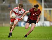 10 June 2018; Oisin McWilliams of Derry in action against Shane Annett of Down during the Eirgrid Ulster GAA Football U20 Championship match between Down and Derry at St Tiernach's Park in Clones, Monaghan. Photo by Philip Fitzpatrick/Sportsfile