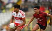 10 June 2018; Callum Brown of Derry in action against Finn McIlroy of Down during the Eirgrid Ulster GAA Football U20 Championship match between Down and Derry at St Tiernach's Park in Clones, Monaghan. Photo by Philip Fitzpatrick/Sportsfile